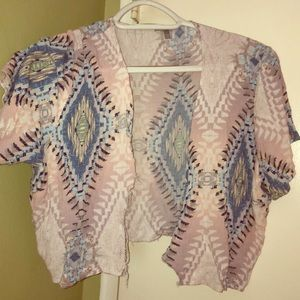 Pink and blue pattern crop